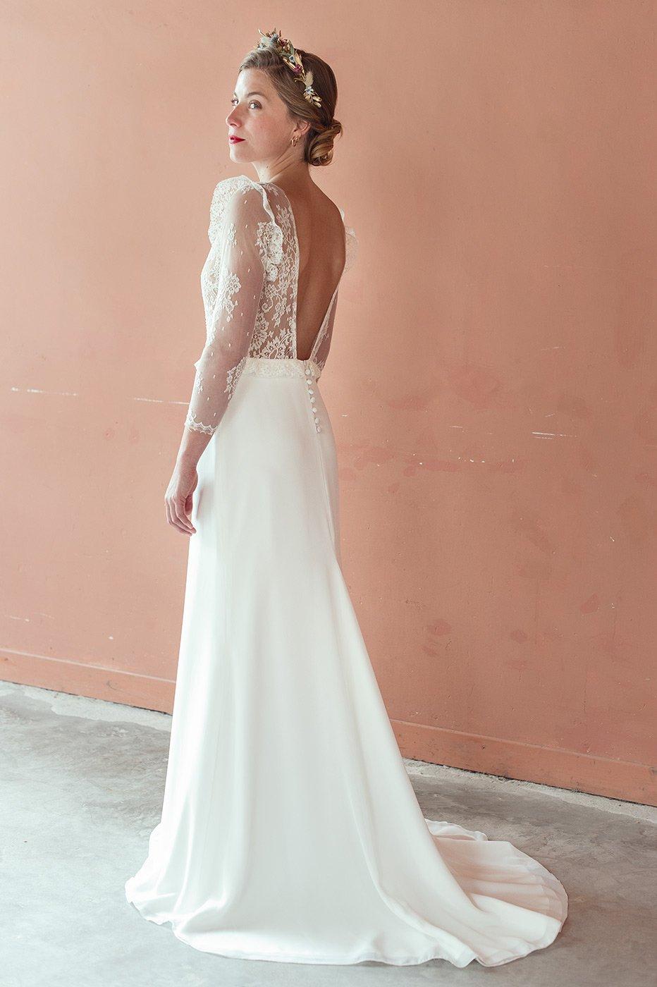 robe dentelle romantique moderne pose toulouse créateur sur mesure colection intemporelles
