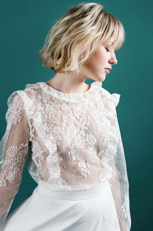 robe dentelle romantique moderne pose toulouse créateur sur mesure collection 2020